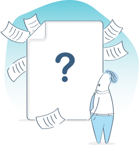 illustration of person looking at a question mark